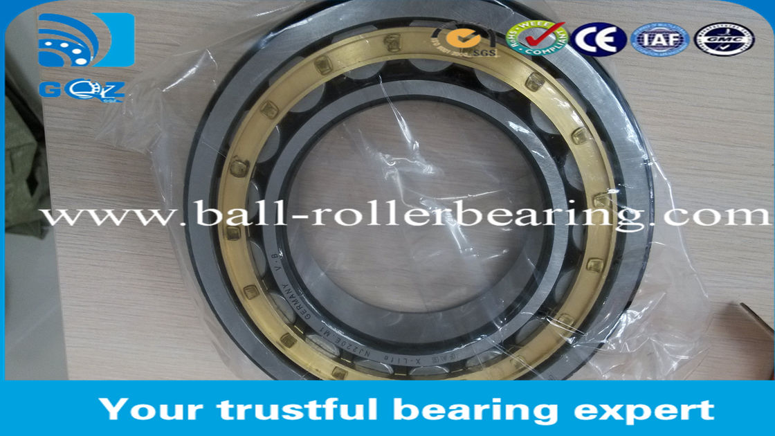 NJ220- E-M1 Cylindrical Single Row Roller Bearing With Steel / Brass Cage